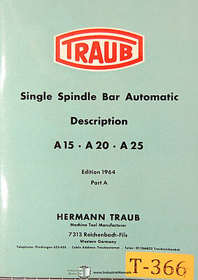 Traub A15 A20 A25 Single Spindle Bar Automatic Description Manual 1964 Part A