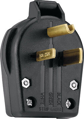 New Cooper Wiring Devices S42-SP-L Power Plug 30/50-Amp, 250-Volt, Black *