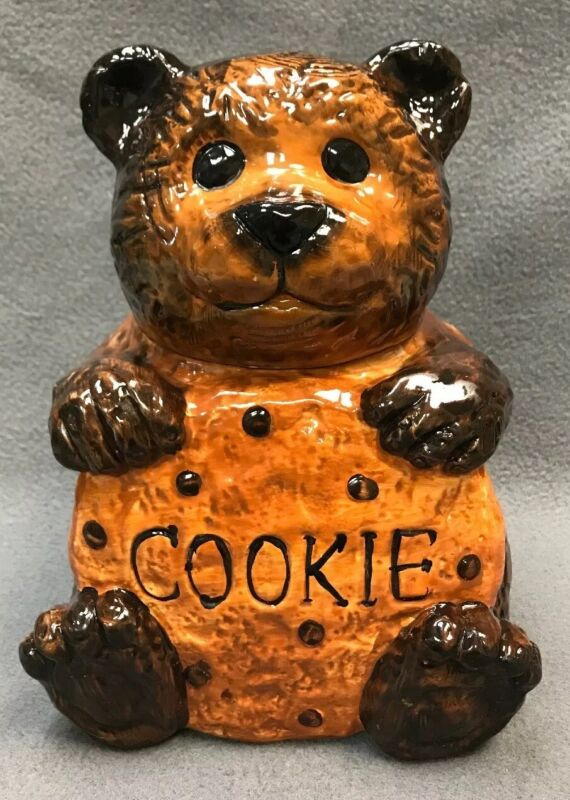 "Vintage BEAR COOKIE JAR CKRO Brown Teddy Holding Chocolate Chip 10"" Hand Painted"