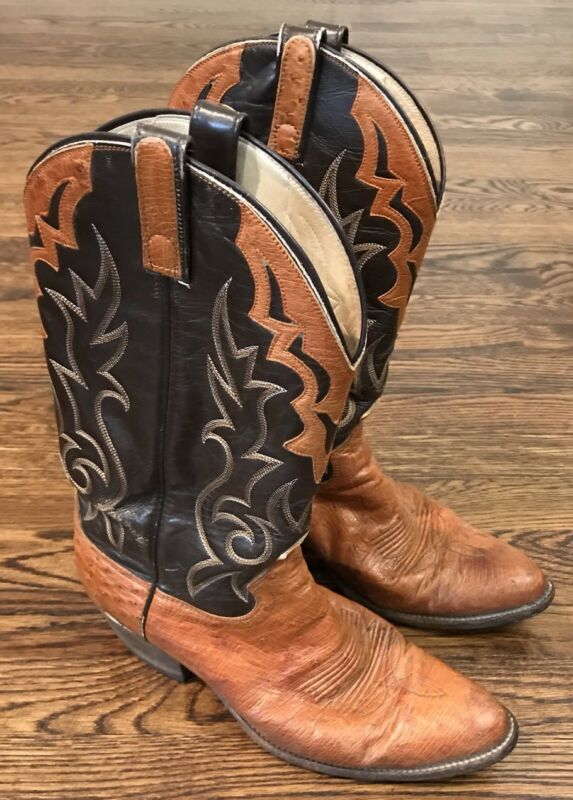 MENS, DAN, POST, , FULL, QUILL, OSTRICH, COWBOY, BOOTS, 10, MADE, USA, EXOTIC