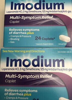 2- IMODIUM MULTI-SYMPTOM RELIEF ANTI-GAS CAPLETS 24ct  Exp 06/22
