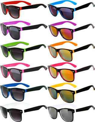 WHOLESALE BULK 12 PAIRS CLASSIC VINTAGE 2TONE SUNGLASSES BY DOZEN MIXED COLOR (Bulk Plastic Sunglasses)