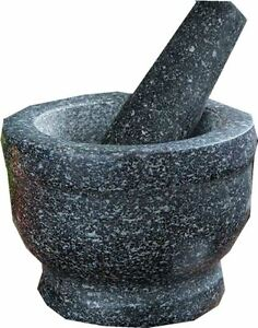 NATURAL GREY GRANITE MORTAR AND PESTLE SPICE HERB CRUSHER GRINDER GRINDING PASTE