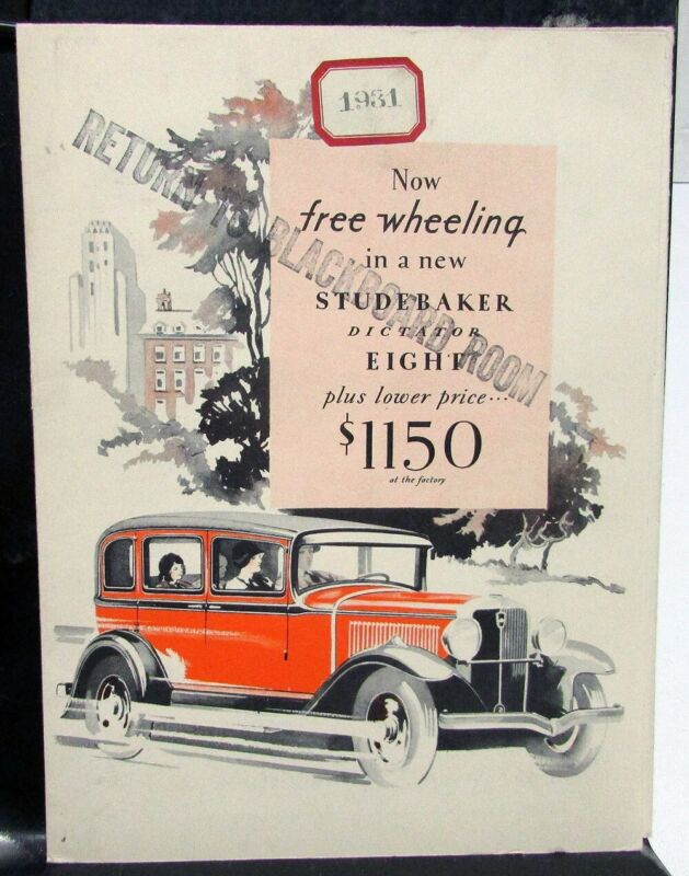 1931 Studebaker Dictator Eight Sedan Coupe Sales Brochure Folder Original