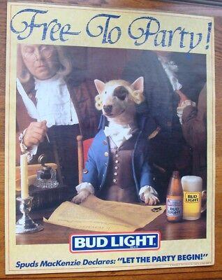 "ORIGINAL VINTAGE 1987 SPUDS MACKENZIE ""FREE TO PARTY"" BUD LIGHT BEER POSTER"