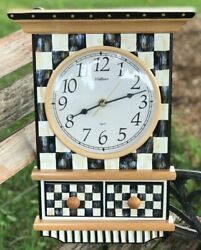MY OWN HP Whimsical Courtly Wood FARM HOUSE Wall CLOCK - Black & White Check