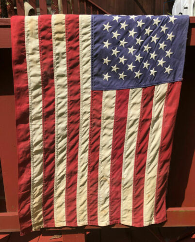 Vintage Defiance American Flag Embroidered 50 Star Cotton Flag Annin Co Stitched