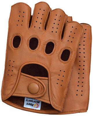 Riparo Mens Leather Reverse Stitched Fingerless Half-Finger Gloves - Cognac Leather Reversible Gloves