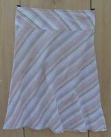 Ladies Cream Striped Cotton Skirt Size 8 Vgc - bay - ebay.co.uk