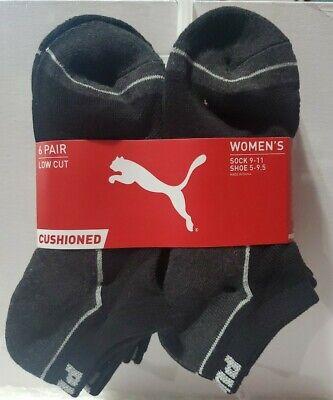 Puma Socks women's 6 pairs pack CUSHIONED Low Cut size 9- 11 shoe sz 5- 9.5