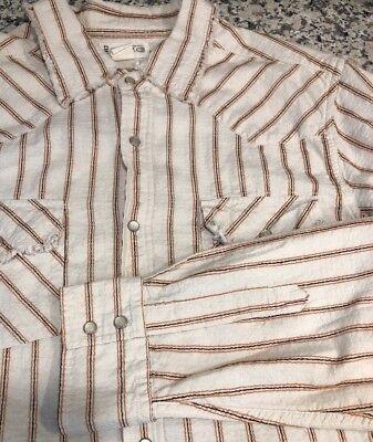 (Buckle 67 BKE Pearl Snap Button Western Shirt Men's Large Cowboy Raw Edges)