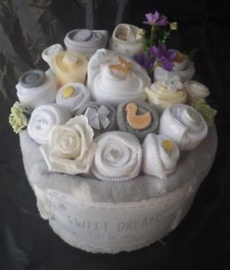 Baby bouquet ebay unisex neutral bright nappy cake clothing bouquet baby shower gift blanket sock negle Gallery