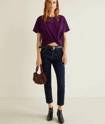 Mango zara group women's purple crop top short sleeve asymmetric hem size S NWT