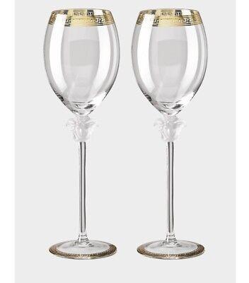 VERSACE MEDUSA WINE GLASS SET OF 2 NEW RETAIL $600 BEST DISCOUNT SALE - Discount Wine Glasses