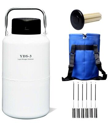 Portable Liquid Nitrogen Tank 3l Cryogenic Container With Straps 6 Canisters