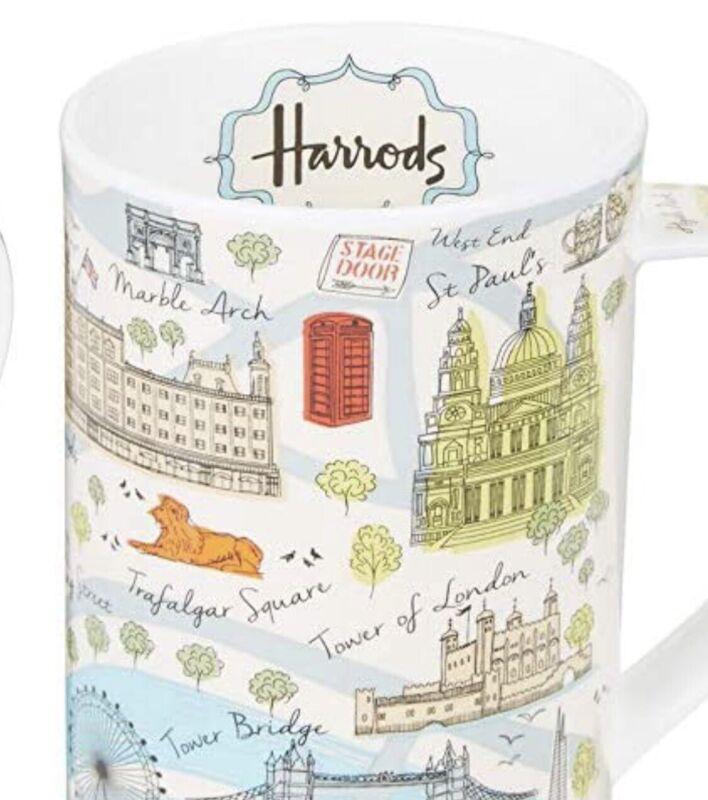 RARE! Harrods of London Fine Bone China Coffee Tea Cup Mug British Map Of London