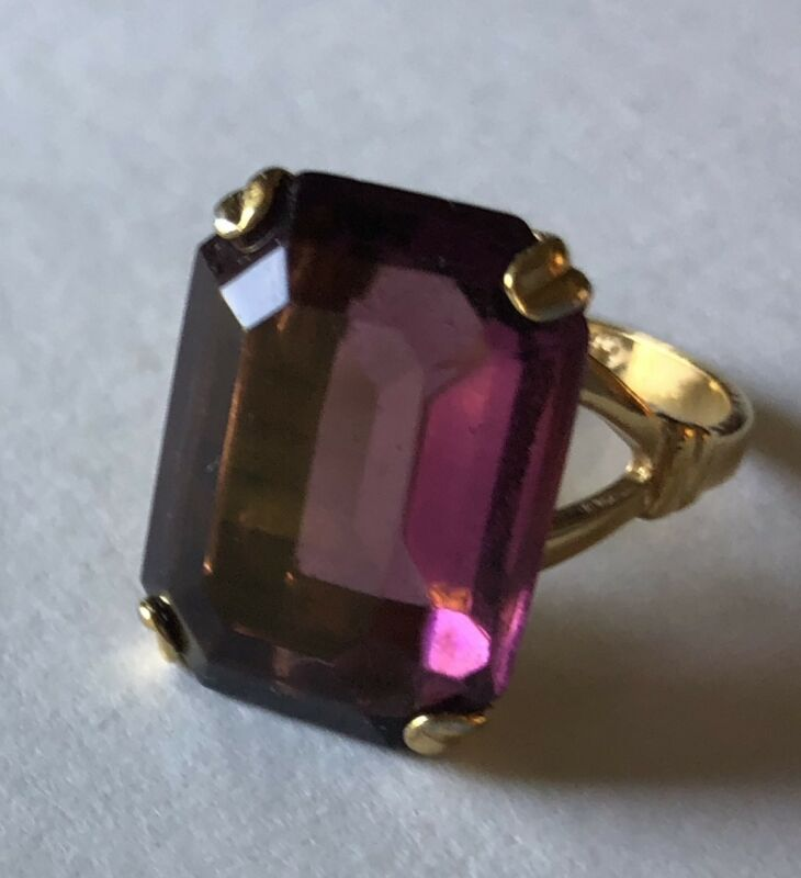 VINTAGE AVON COCKTAIL RING FAUX AMETHYST SIZE 7