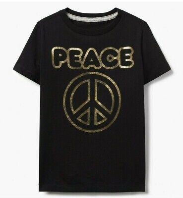 Gymboree nwt boys black gold peace sign shirt size M 7 - Boys Peace Sign
