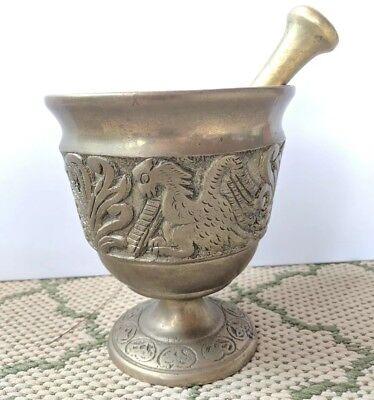 Vintage Heavy Mortal & Pestol Brass Griffen Bird Pattern Spice Herb Grinder (Griff Herb Grinder)