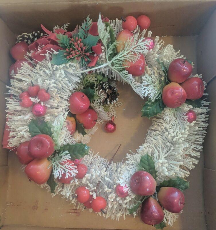 "Consolidated Novelty Vintage Flocked Bristle Christmas Holiday Wreath Decor 15"""