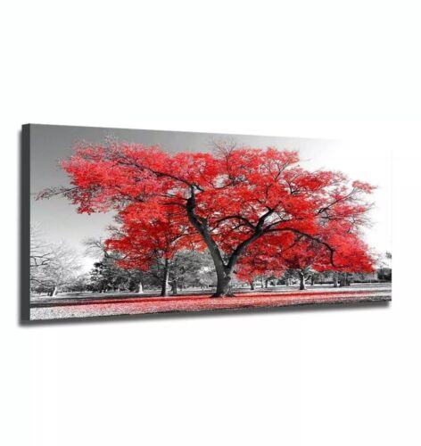 """20""""x40"""" Orange Tree In Black White Fall Landscape Pictur"""
