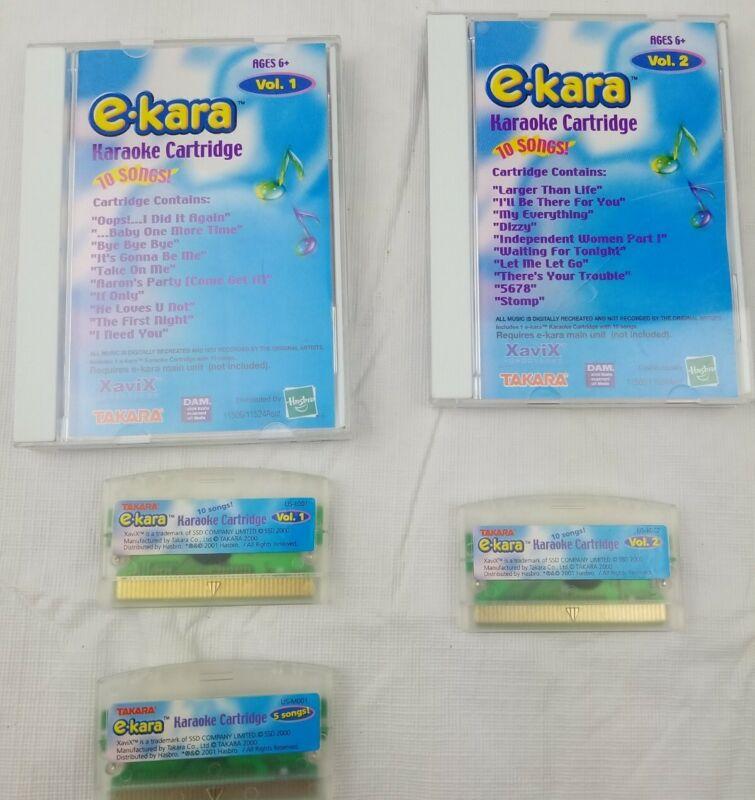 Vtg E-Kara Karaoke Cartridge Volume 1 & 2.Hasbro 2000 Xavi, TAKARA. DAICHI KOSHO