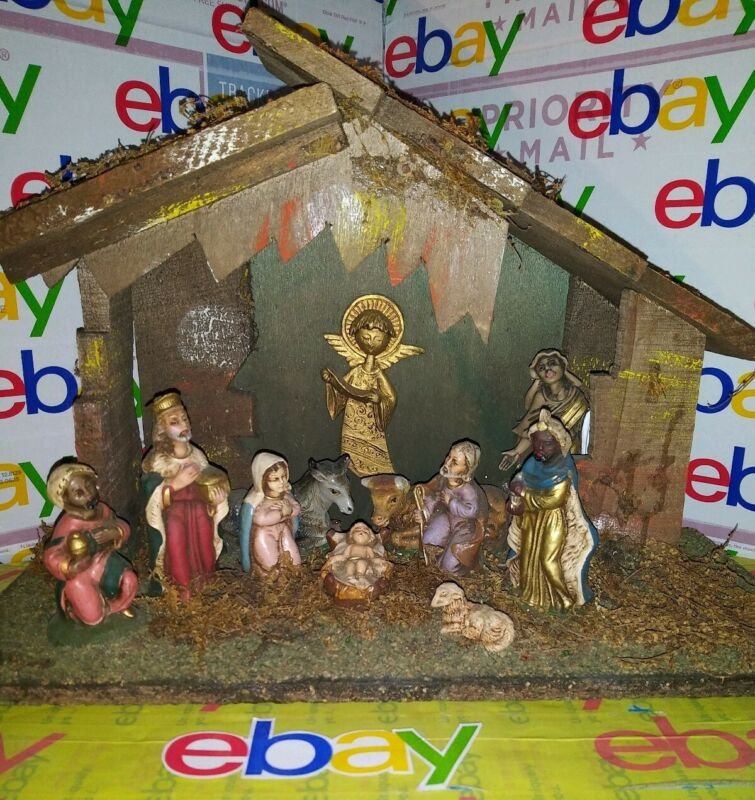 VINTAGE ITALIAN NATIVITY LIT SET MANGER CRECHE 10 FIGURES MADE ITALY MARY JESUS