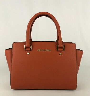 MICHAEL KORS SELMA MEDIUM SATCHEL SHOULDER BAG PURSE LEATHER ORANGE