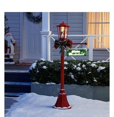 New Holiday Time Snow Blowing Santa Light Up Post Indoor Outdoor Christmas
