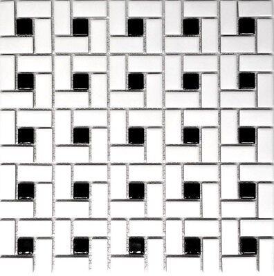 Black And White Dot Pinwheel Porcelain Mosaic, Floor And Wall Backsplash