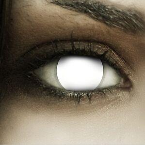 Farbige Halloween Kontaktlinsen Blind White weiße weisse ohne Stärke Crazy Fun