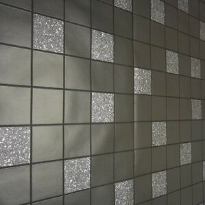 Charcoal black silver modern kitchen bathroom tile for Silver kitchen wallpaper
