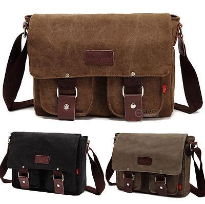 """Men's Vintage Canvas School Satchel Shoulder Messenger Bag 11"""" Laptop Bag Small"""