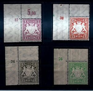 BAYERN Wappen 1911** Plattennummern - Michel 71/74 - POSTFRISCH: LUXUS SATZ ! - Roma, Italia - BAYERN Wappen 1911** Plattennummern - Michel 71/74 - POSTFRISCH: LUXUS SATZ ! - Roma, Italia