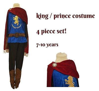 Kids Boys King Royal Prince Fancy Dress Costume 4 Piece Outfit Book Day 7-10y