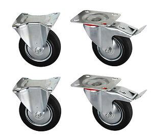 Roulette acier caoutchouc 100 mm x 4 chariot roulement roue billes diable ebay - Roue caoutchouc chariot ...