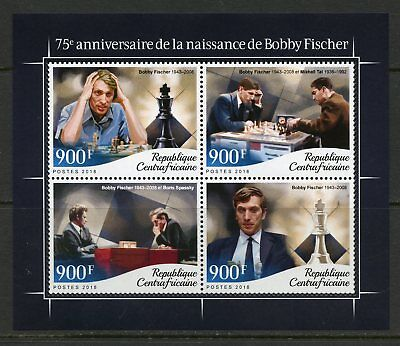 CENTRAL AFRICA 2018 75th BIRTHDAY OF BOBBY FISCHE SHEET MINT NH