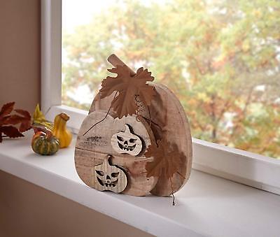 Kürbis Deko Holz Herbstdeko Halloween Treibholz braun Rostdeko Landhaus