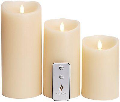 Luminara Flameless Pillar Flicker Flame Candles Set Ivory with Timer Remote 3pcs