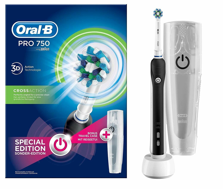 ORAL-B PRO 750 Black Sonder Edition Elektrische Zahnbürste mit gratis Reiseetui