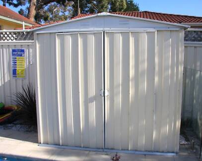 cream colorbond garden shed 22 x 125m used sydney
