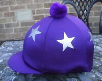 Lycra Riding Hat Silk Skull Cap Cover Purple Silver Stars With Or W/o Pompom - affordable horseware - ebay.co.uk