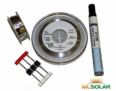 160' Solar Tabbing Wire 20' Bus Wire, Flux Pen 3 Diodes
