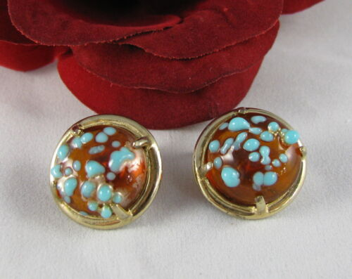Vintage Castlecliff Textured Art Glass Clip on Earrings  CAT RESCUE