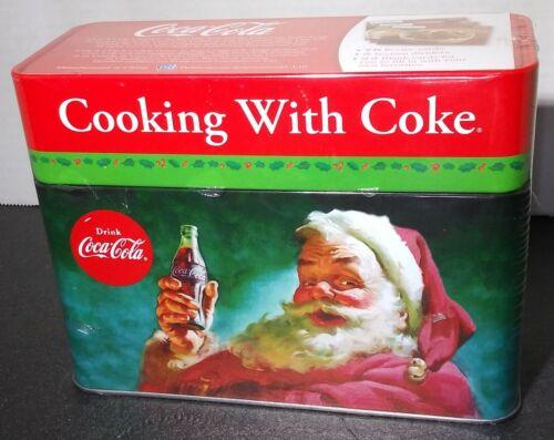 NEW Cooking With Coke Recipe Cards Set Coca-Cola Santa Claus Christmas Tin Box