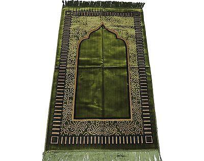 Turkish Islamic Prayer Rug Mat Namaz Salat Musallah - DARK GREEN color Sejadah