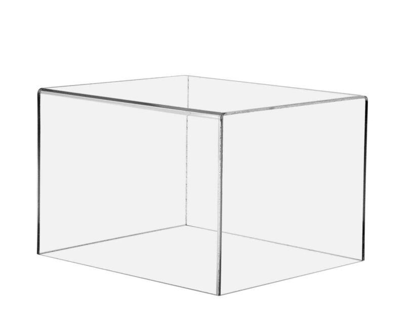 "Clear Rectangular Box Case 5 Sided Display Cube Pedestal 12""W x 10""D x 8""H"
