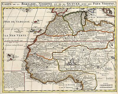 1719 Map of Western Africa by Chatelain