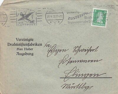 AUGSBURG, Briefumschlag 1928, Max Huber Vereinigte Drahtstiften-Fabriken