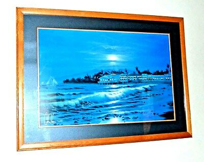 Peaceful Lahaina Eve Christian Lassen S/N Limited Lithograph Print Frame Hawaii